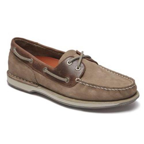 Taupe nubuck colored lace boat shoe by Rockport.