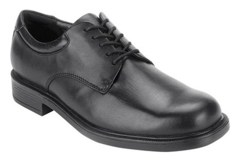Black leather lace up casual dress shoe by Rockport.