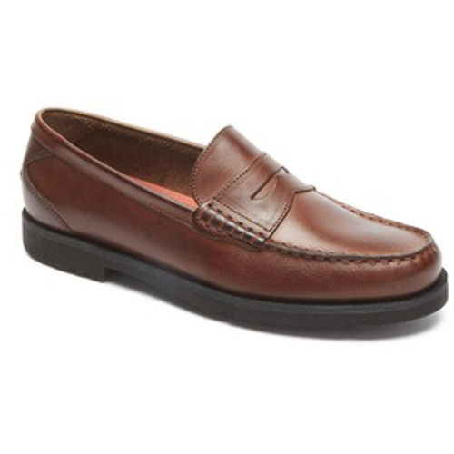 Dark tan leather loafer with molded eva sole by Rockport.