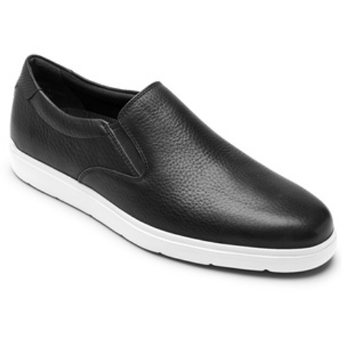 Black sport casual slip on with white sole by Rockport.