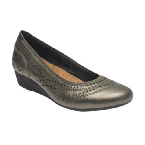Metallic perforated leather with  mid wedge pump by Rockport.