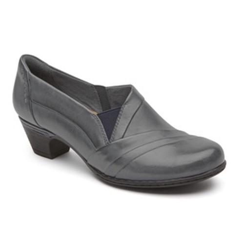 Navy grey leather office dress slip on shoe by Rockport.