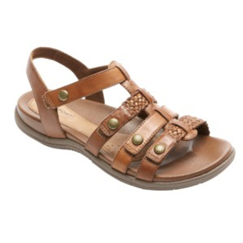 Tan multi strapped sandal by Rockport.