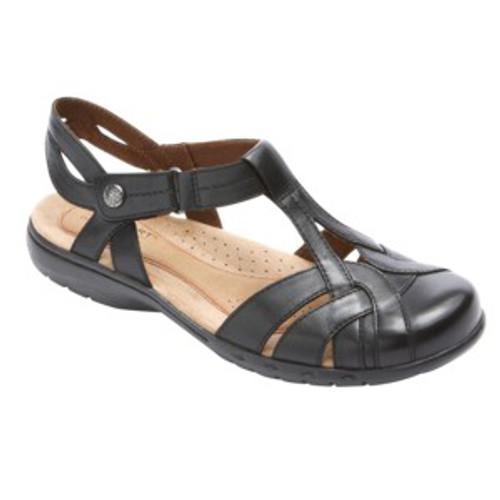 Black leather T strap sandal by Rockport.