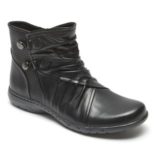 Black leather ankle boot with elastic button closures by Rockport.