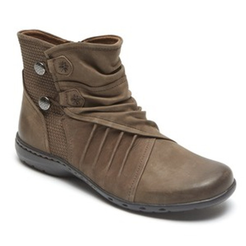 Stone ankle boot with elastic button closures by Rockport.
