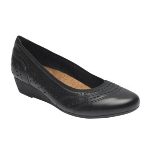 Black perforated leather with  mid wedge pump by Rockport.