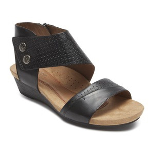 Black Wedge sandal with cuff strap