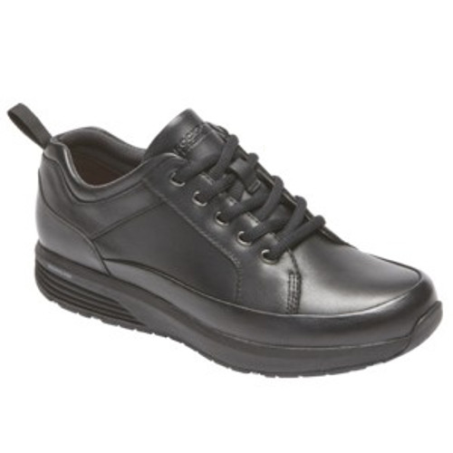 Black waterproof work shoe by Rockport.