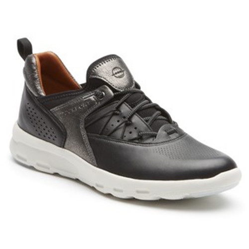Black Leather Bungee Athletic Shoe