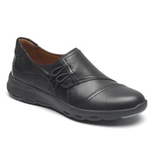 black leather high vamp slip on