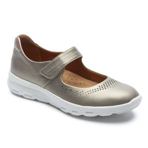 Taupe metallic Mary Jane with white sole