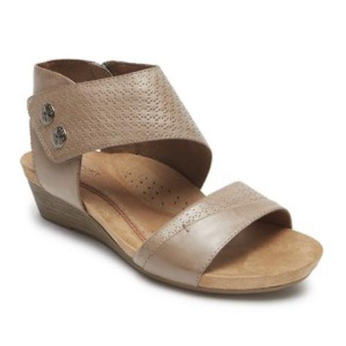 Khaki wedge sandal with cuff strap