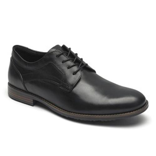 Black plain toe lace up dress shoe by Rockport.