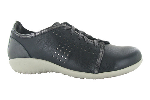 Black perf leather lace up with removable cork footbed by Naot.
