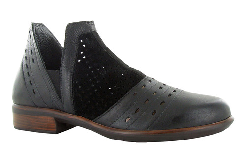 Perf black ankle boot with removable cork footbed by Naot.