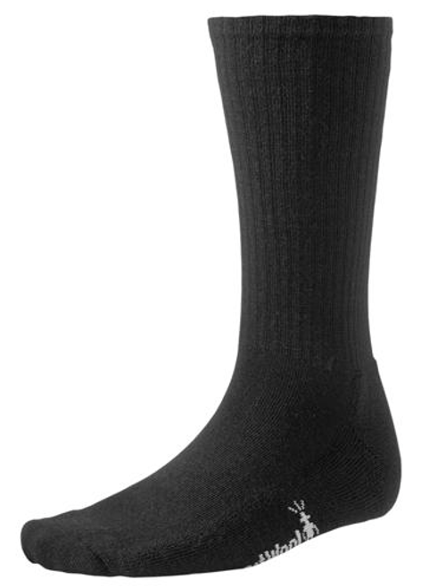 Black ribbed sock made with Merino wool by Smartwool.