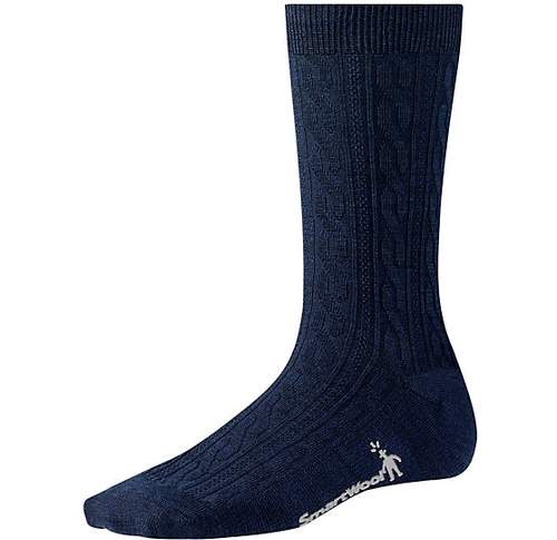 Deep Navy cable crew sock made with Merino wool by Smartwool.
