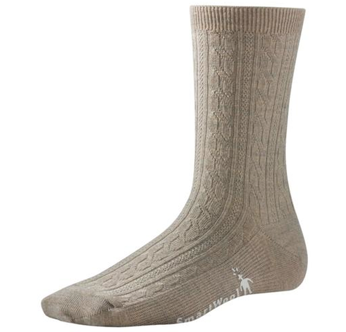 Oatmeal cable crew sock made with Merino wool by Smartwool.