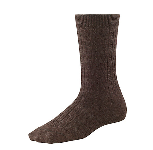 Chestnut cable crew sock made with Merino wool by Smartwool.