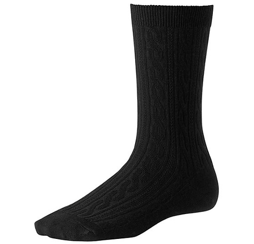 Black cable crew sock made with Merino wool by Smartwool.