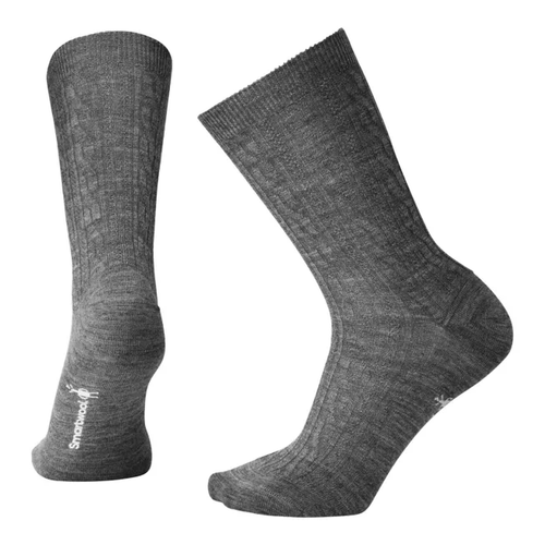 Medium gray cable crew sock made with Merino wool by Smartwool.