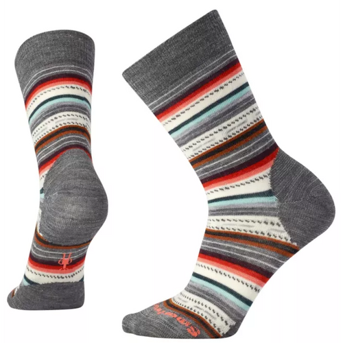 Gray multi colored striped sock made with Merino wool by Smartwool.