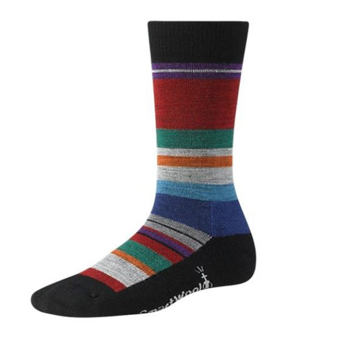 Multi colored striped sock made with Merino wool by Smartwool.