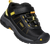 Black and yellow velcro and bungie lace system trail shoe by Keen.