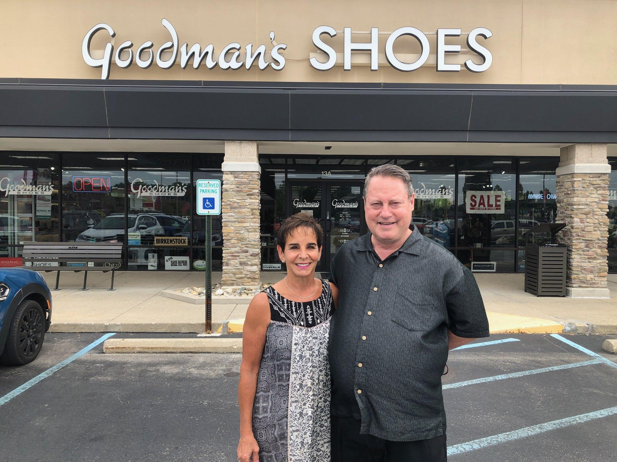 Patty and Gary Goodman in front of the Nora shopping center store.