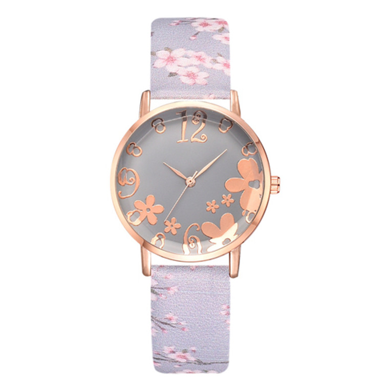 Pretty Flower Colorful Faux  Leather  Watches - Blue