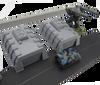 6mm Tank Garage Modern Wargaming Terrain shown with Battletech Mech