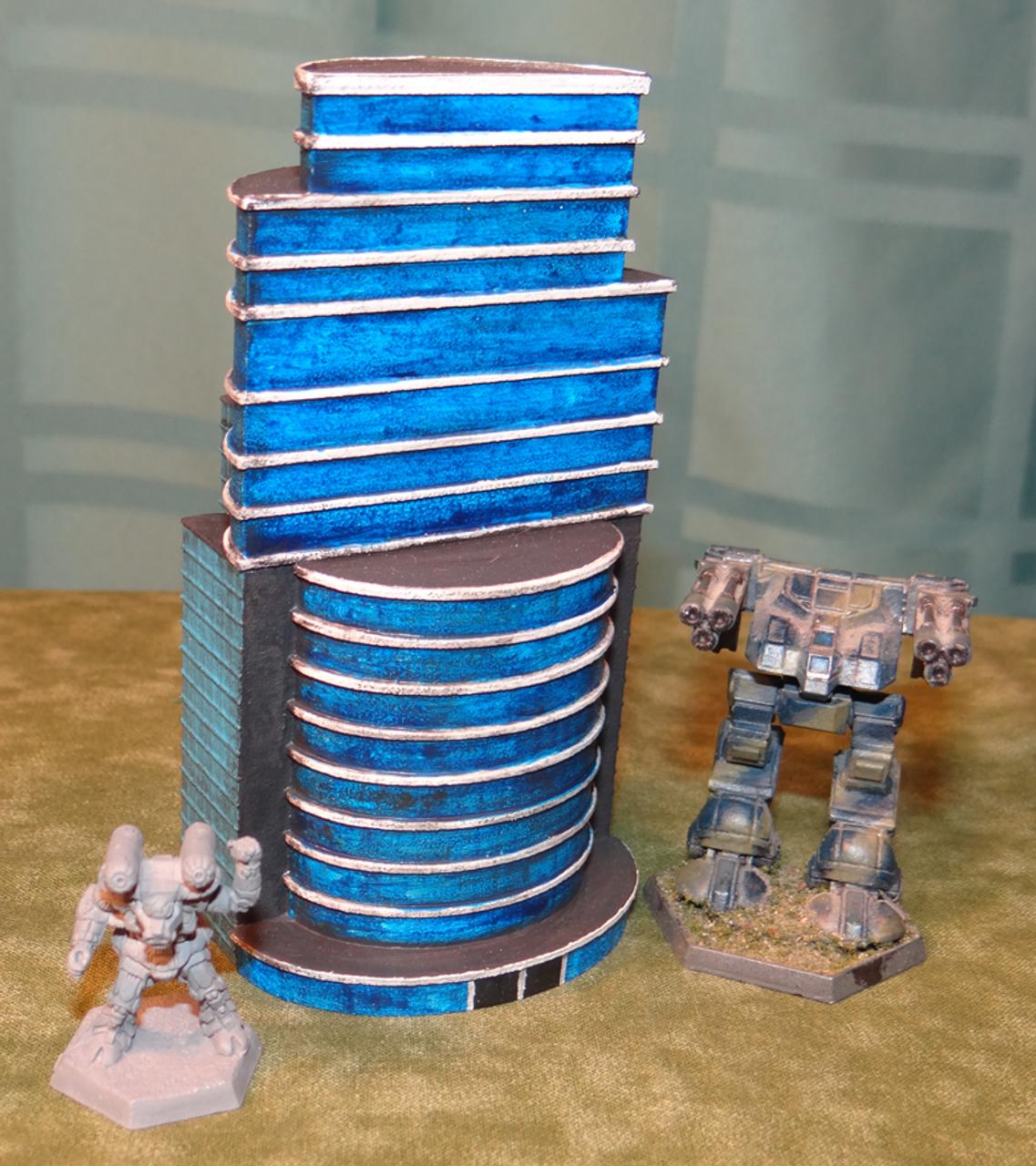 6mm Battletech Office building shown with Mechs