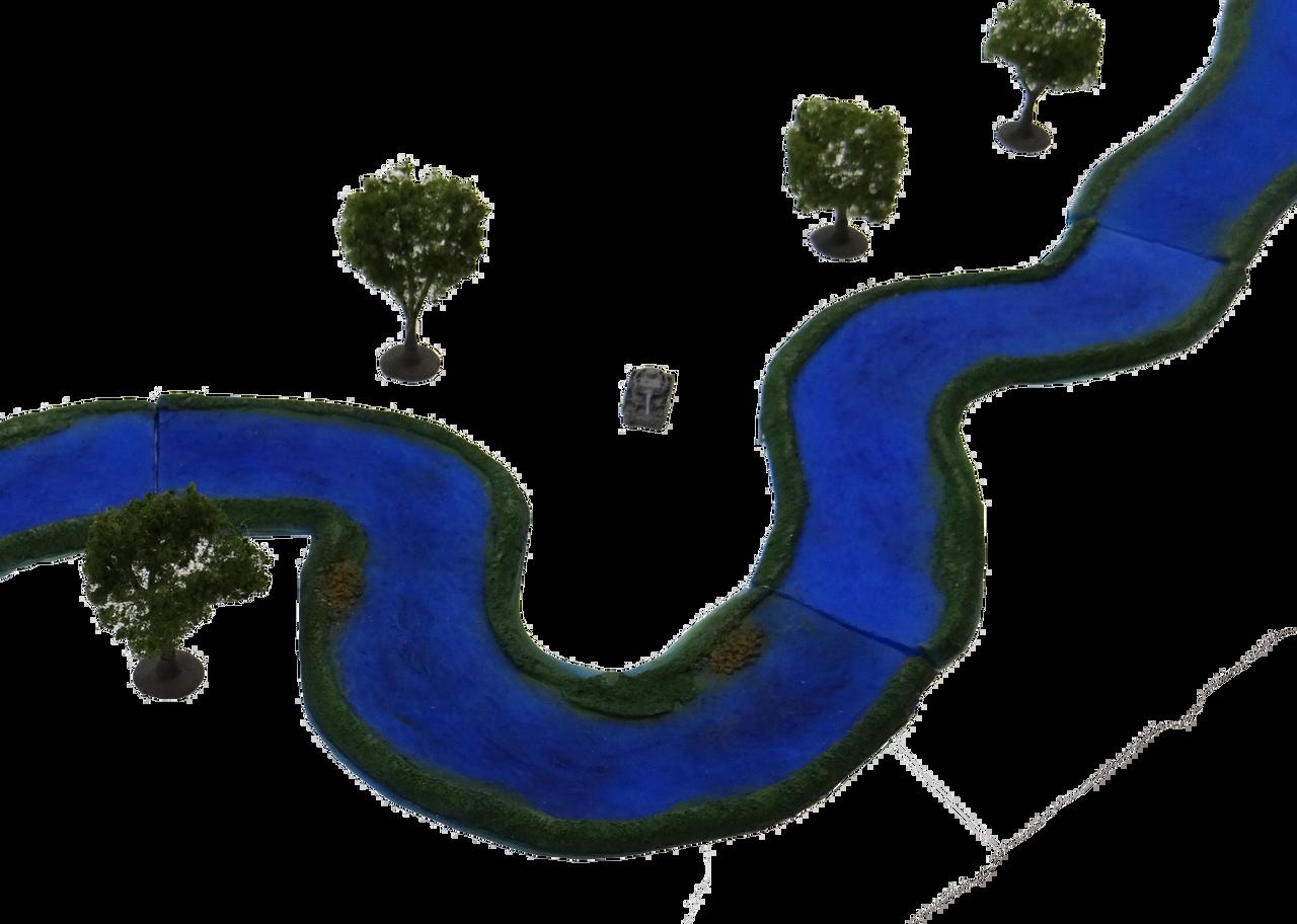 1350-Blue River Set Painted 9pc