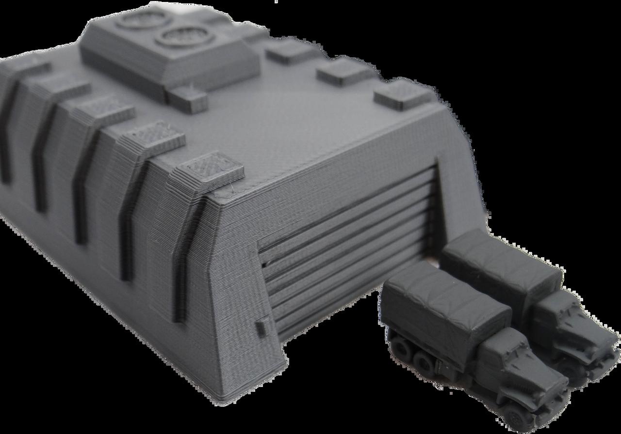 6mm Tank Garage Wargaming terrain with 6mm vehicles