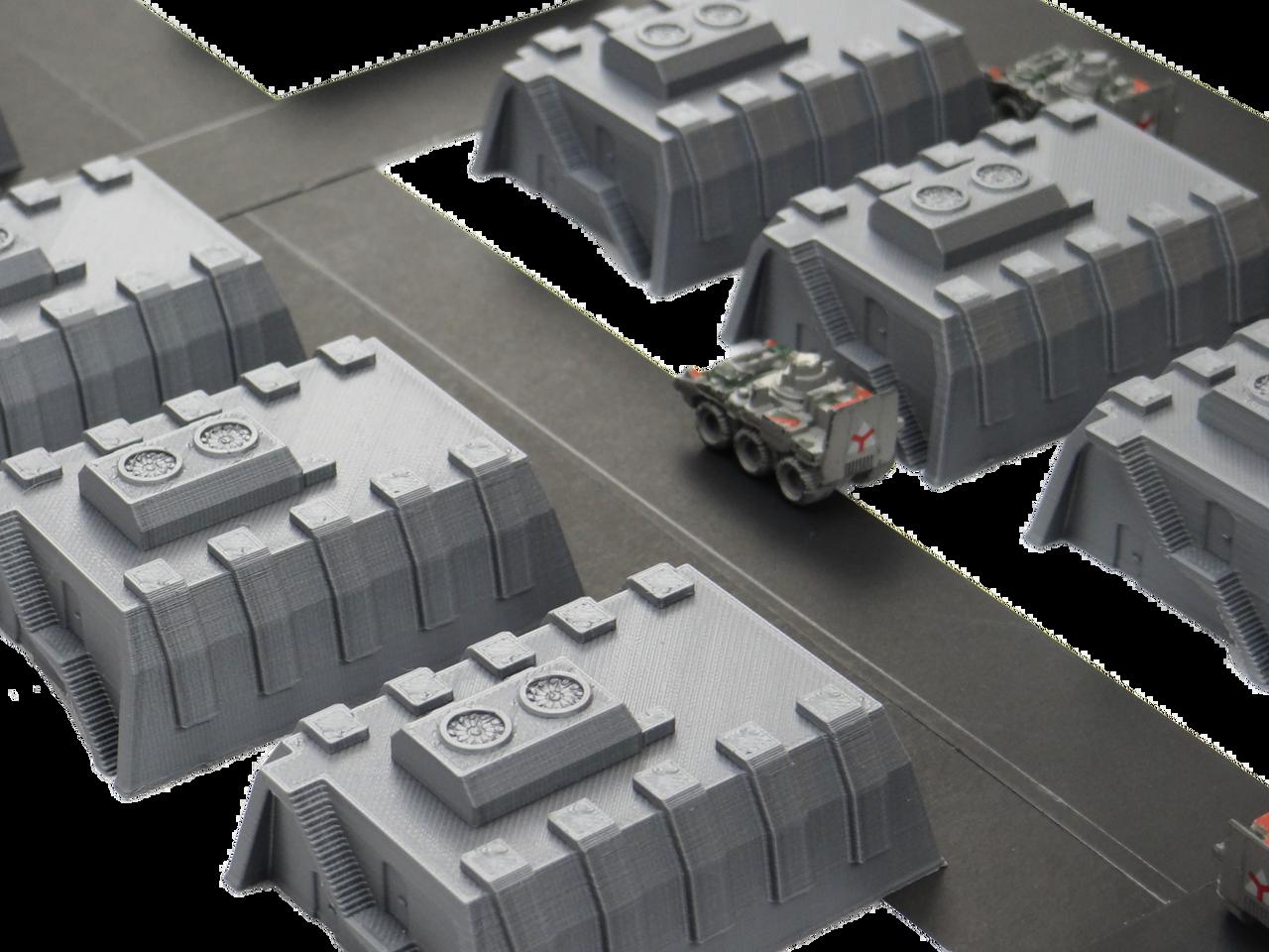 6mm Tank Garage Wargaming Terrain with roads