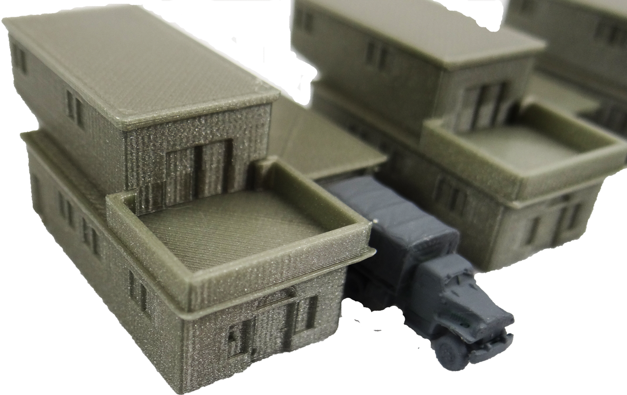 6mm Block House front view with truck