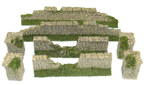 1287-Farm Stone Wall Ruin Wall Set Slate