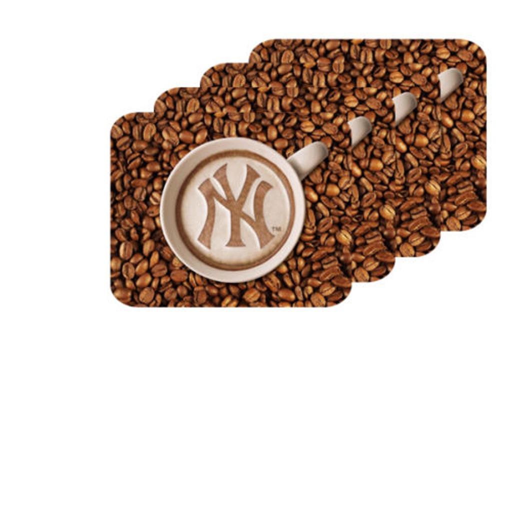 New York Yankees Latteam Coffee Art 4pk Coaster Set Packaged