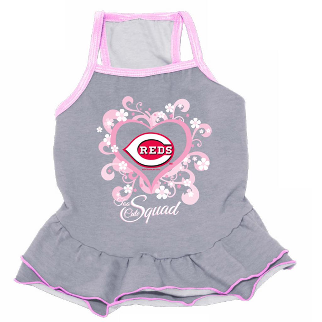 Cincinnati Reds Dog Pet Pink Too Cute Squad Jersey Tee Dress