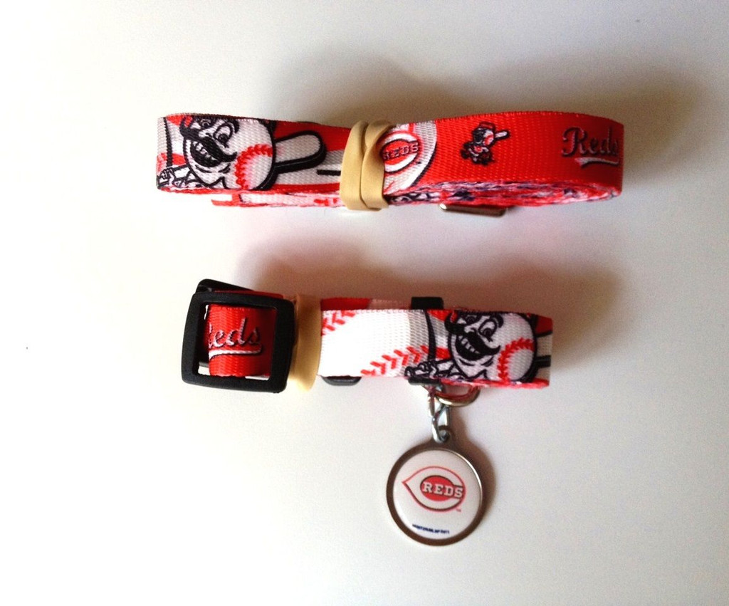 Cincinnati Reds Dog 3pc Pet Set Leash Collar ID Tag
