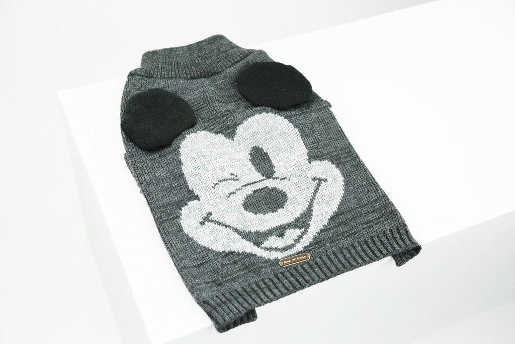 Mickey Mouse Dog Cat Knit Sweater Ear Applique Premium Licensed