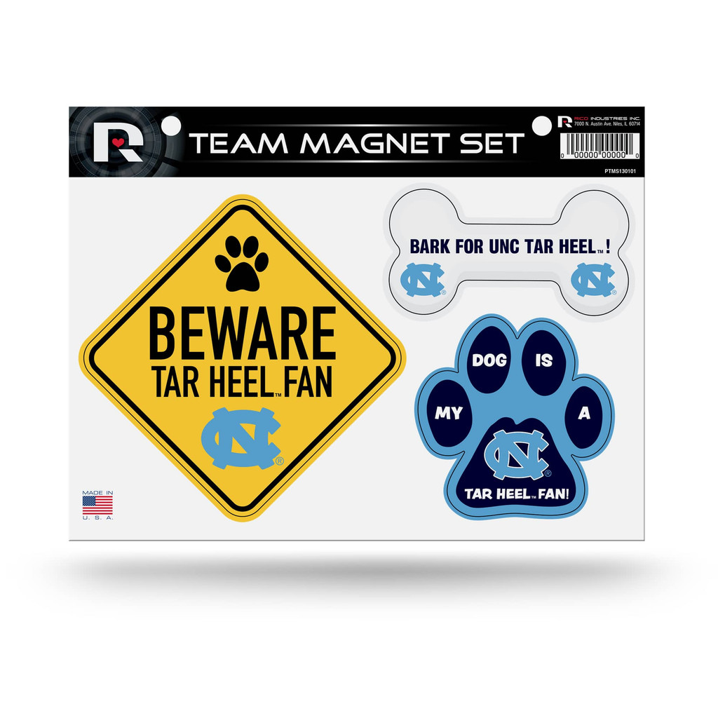 North Carolina Tar Heels Pet Dog Magnet Set Beware Fan