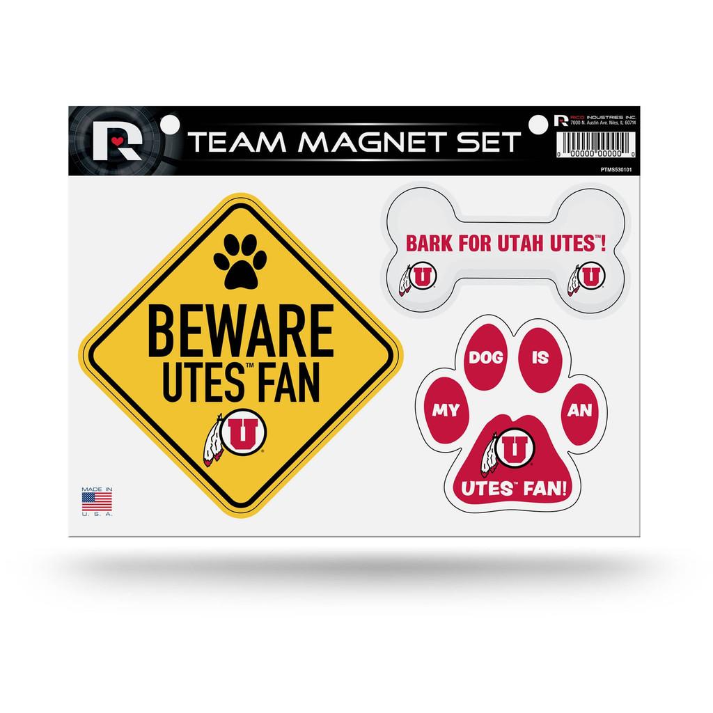 Utah Utes Pet Dog Magnet Set Beware Fan