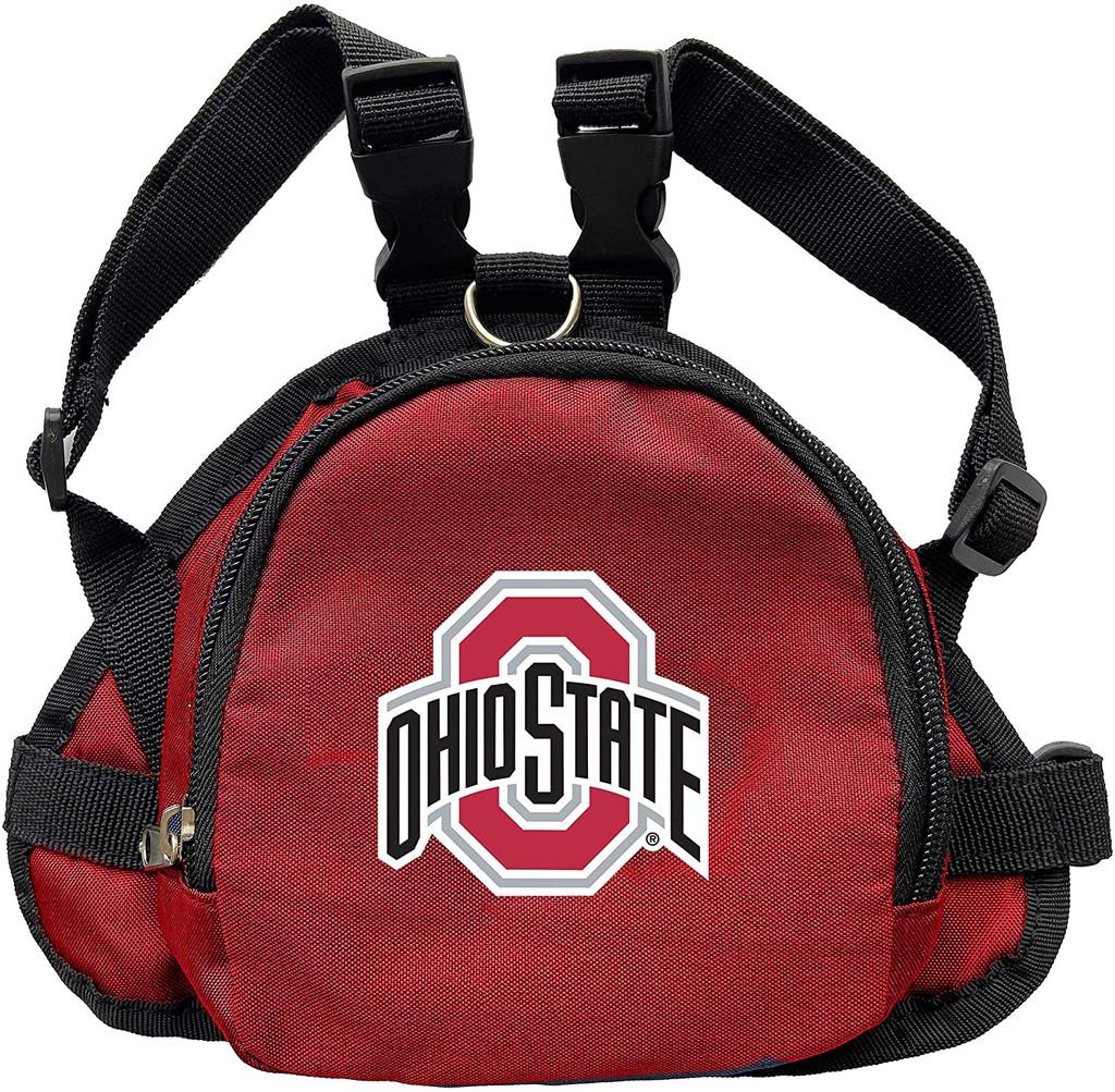 Ohio State Buckeyes Dog Cat Mini Backpack Harness w/ Leash