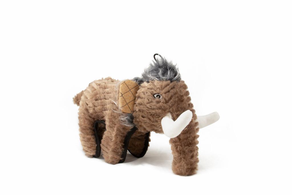 Ruffian Woolly Mammoth Dinosaur Dog Toy Premium Tough Plush w/ Tennis Ball