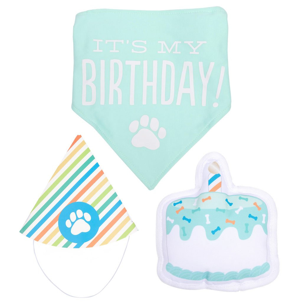 Pet Dog Happy Birthday Kit Cake Toy Party Hat Premium Cotton Bandana