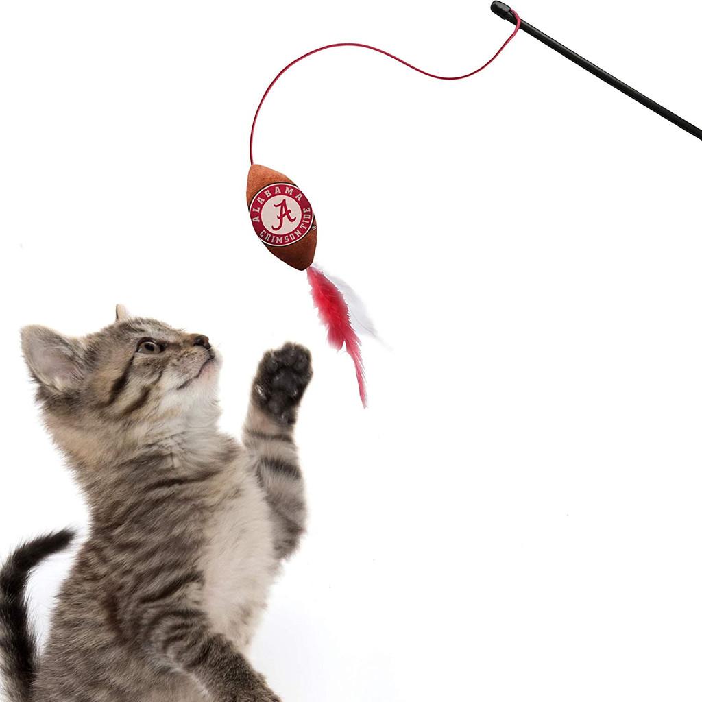 Alabama Crimson Tide Cat Football Toy Wand Interactive Teaser