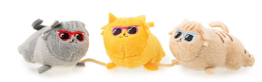 Cool Cats Trio Plush Cat Toy On String w/ Catnip & Crinkle