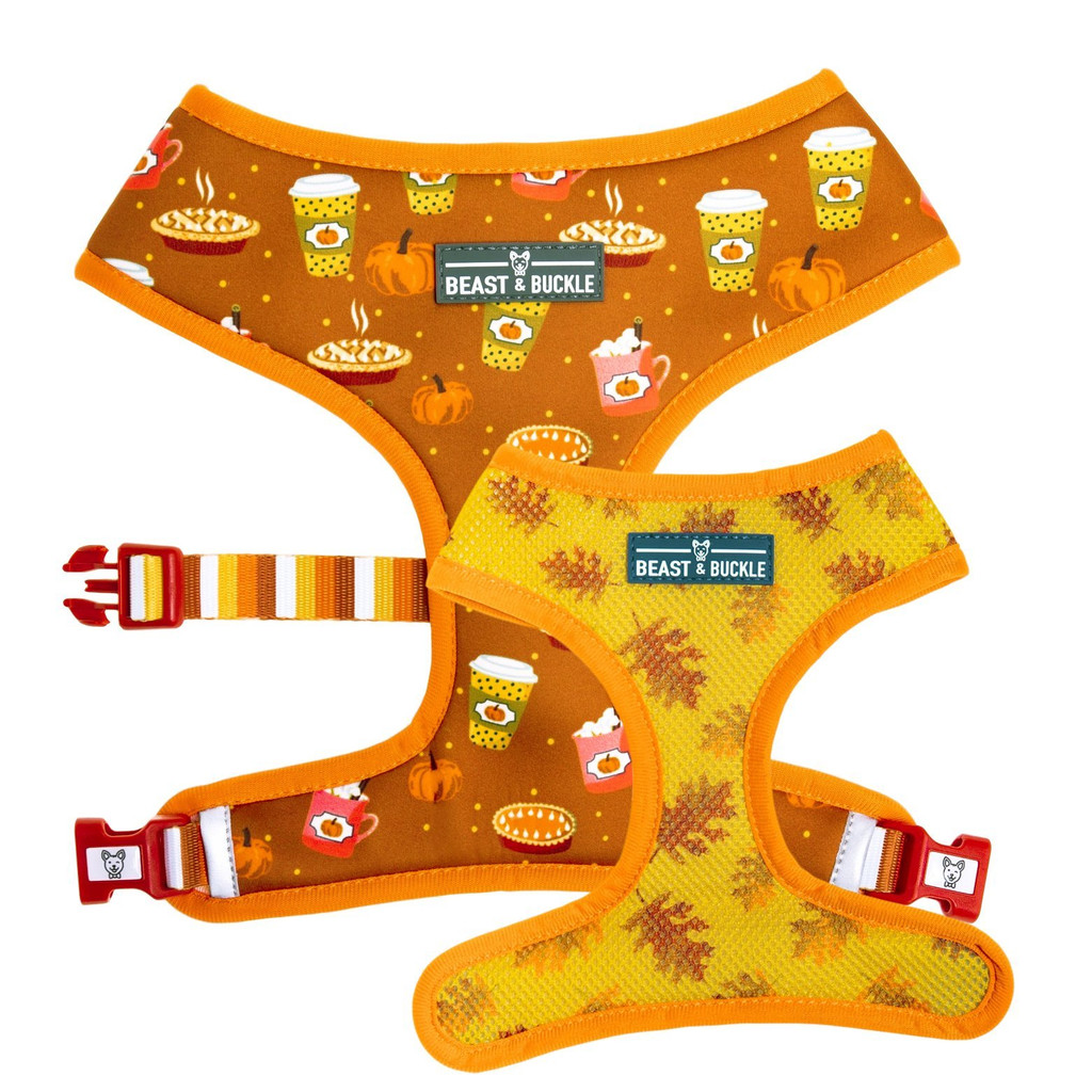 Pumpkin Spice Reversible Dog Harness Premium Vest Fall Leaves Coffee